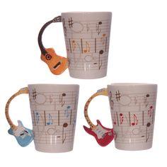 Ted Smith Keramik Notenblatt Gitarren-Griff Tasse