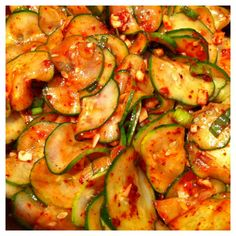 For The Love of Kimchi! cucumber kimchi, freaking love this stuff. Although I am sad about the fish sauce ingredient because it makes me kind of ill, but i'm going to forget about it cuz I LOVE cucumber kimchi Korean Dishes, Korean Food, Vietnamese Food, Fish Sauce Ingredients, Cucumber Kimchi, Korean Cucumber Salad, Korean Cucumber Side Dish, Asian Recipes, Healthy Recipes