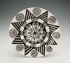 Bohemian Plate with Hand Painted Black and White Mandala by owlcreekceramics