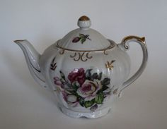 Vintage White and Pink Rose Musical Tea For by OurBarefootCottage.etsy.com