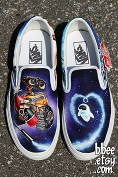 These shoes were a custom order for Alexandra in Switzerland. She wanted a Wall-E themed pair of shoes, so I painted Wall-E and Eve on the fronts of the. Wall-E Shoes