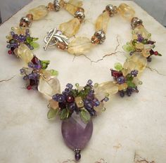 Chunky Gemstone Statement Necklace Citrine Amethyst Peridot Sterling Silver Beaded Jewelry  'Sumptuous'. 289usd, via Etsy.