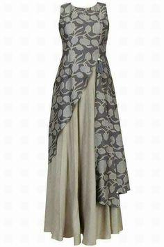 Anushree presents Dark grey floral printed asymmetric maxi dress available only at Pernia's Pop Up Shop. Muslim Fashion, Hijab Fashion, Indian Fashion, Fashion Clothes, Fashion Dresses, Womens Fashion, Kurta Designs, Blouse Designs, Indian Dresses