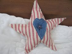 Red Ticking Stuffed Star Novelty Patriotic Pillow