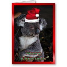 AUSTRALIAN Christmas koala xmas Christmas animals Card Christmas Scenes, Christmas Animals, Christmas Cats, Vintage Christmas, Xmas, Christmas Images, Aussie Christmas, Australian Christmas, Work Christmas Party Ideas