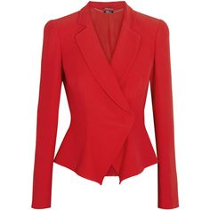 Alexander McQueen Flared-hem crepe jacket ($593) ❤ liked on Polyvore featuring outerwear, jackets, blazers, alexander mcqueen, coats & jackets, red, red jacket, alexander mcqueen jacket, tailored jacket and flare jacket