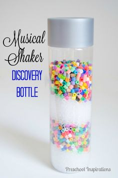 Musical Shaker Discovery Bottle with Beads. A perfect sensory play activity for children of all ages.
