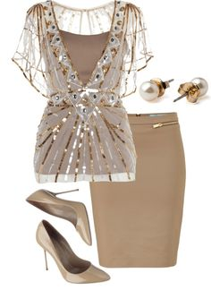 Fashion Style Combination - Beige pencil skirt, pumps, and a shimmering silver beige blouse with lace cover jacket.