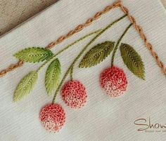 "311 Likes, 5 Comments -  EMBROIDERY  (@__needlework__) on Instagram: ""#❤️fly_stitch #❤️french_knot #❤️ایده_گلدوزی"""