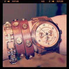 L'Oreal Melbourne Fashion Festival - What i Wore: Michael Kors watch / Tory Burch leather wrap bracelet / Swarovski crystal and gold bracelet. Image copyright Lara Antonelli Media. ©
