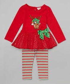 Red Reindeer Tunic & Stripe Leggings - Infant, Toddler & Girls #zulily #zulilyfinds