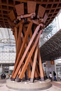A massive leg of Kanazawa Station's modern 'drum gate' entrance, Kanazawa Japan (金沢駅の鼓門)