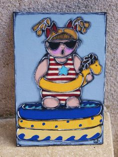 Little girl painted on sumer time - Girl and pool painted de la boutique LULdesign sur Etsy