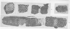 Tablet woven finds.  Place of discovery: Birka Grave no. 824 as well as type of grave in grave no. 731 and 750.  Note cords on large fragment shown at bottom left.