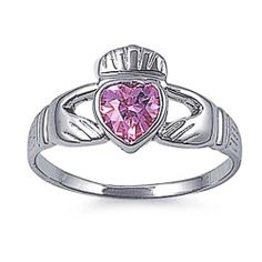 Rhodium Plated Sterling Silver Wedding & Engagement Ring Pink CZ Claddagh Ring 12MM ( Size 4 to 10)