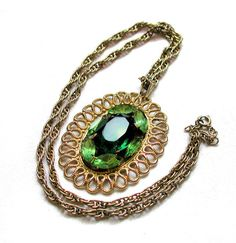 70s Big Green Rhinestone Pendant Necklace on Chain Vintage from Morning Glorious, $22.00