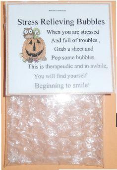 Stress Bubble Wrap - cute idea for craft show Employee Appreciation, Teacher Appreciation Gifts, Teacher Gifts, Gag Gifts, Cute Gifts, Staff Gifts, Bubble Wrap Crafts, Fun Crafts, Crafts For Kids
