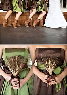A couple of good rustic wedding ideas...slouch cowgirl boots on the bridesmaids. Wheat as bouquets instead of flowers.