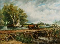 John Constable - Landscape with Horses
