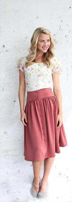 Cute As A Button Skirt [MFS3022] - $44.99 : Mikarose Boutique, Reinventing Modesty