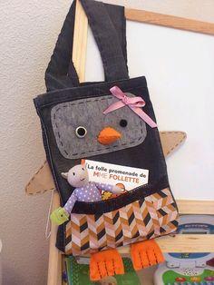 Sac pingouin réalisé pour le nouveau concours Cultura par Mamia la mamie de ma louloute ;)
