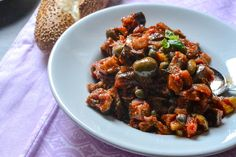 Caponata Siciliana (Sicilian Eggplant Antipasto) [Vegan, GlutenFree] is part of Vegan appetizers Eggplant - A rich and flavorful eggplant appetizer that will have you feeling like you're sitting in a trattoria in Sicily! Sicilian Eggplant Recipe, Sicilian Recipes, Eggplant Recipes, Sicilian Caponata Recipe, Eggplant Dishes, Greek Recipes, Antipasto Recipes, Vegan Appetizers, Italian Appetizers