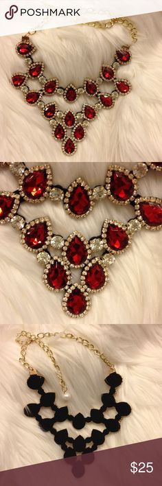 Red stone and bling necklace New never worn , beautiful Jewelry Necklaces