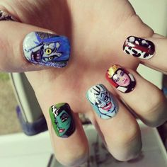 Handpainted Disney Villains Nails set of 5 by DisneyNails on Etsy, $10.00