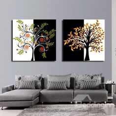 New Arrival Abstract Trees Print 2-piece Cross Film Black and White Wall Art Prints