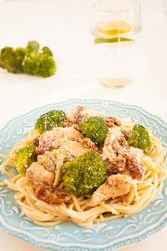 Chicken in a Creamy Alfredo Sauce with Sun-dried Tomatoes and Broccoli