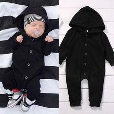 B&W -Romper-Black Playsuit-Infant-newborn baby