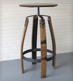 For the basement man cave Reclaimed Bourbon Barrel Bar Table