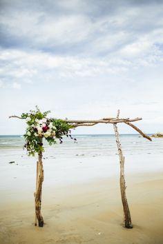 Driftwood wedding arbor, beach wedding by Love Katie & Sarah