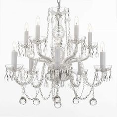 Gallery Crystal 10-light Chandelier with Faceted 40mm Crystal Balls - Overstock Shopping - Great Deals on Gallery Chandeliers & Pendants