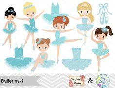 Ballerina digital Clip Art Clipart de Ballet Ballet azul