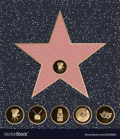 Walk of Fame vector illustration Hollywood Walk Of Fame, Hollywood Party, Hollywood Decorations, Graduation Party Themes, Prom Themes, Cinema Party, Star Of The Week, Star Template, Dream Music