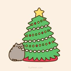 Pusheen the cat with Christmas tree