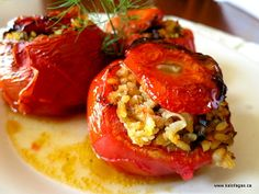 Stuffed Tomatoes With Rice & Herbs, via Kalofagas Greek Food & Beyond.