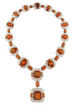 Cartier Art Deco Diamond and Cognac Citrine Necklace, c. 1934/ LOVE THIS