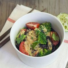 Broccoli   Tomato Noodle Bowl with Curried Peanut Sauce