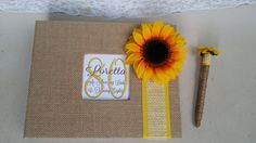 Burlap Sunflower Guest Book Set (Wedding, Shower, Birthday, Anniversary, Etc) - Rustic Yellow Fall Sign Burlap Guestbook Pen 8th 70th 60th by ParadiseBridal on Etsy