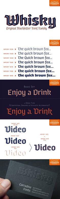 Whisky - A modern blackletter font. Blackletter Fonts. $85.00