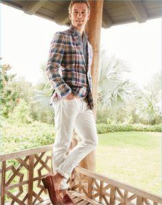 Embracing madras, Benjamin Eidem wears a J.Crew Ludlow blazer $168, shirt $59.50, white jeans $125, and Ludlow penny loafers $288.