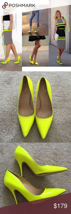 Kate Spade licorice neon yellow pump 7.5 Worn once in great condition,there are some discoloration parts plz refer to pics,❌NO TRADE‼️ kate spade Shoes Heels