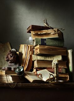 Old, vintage, books, papers, candles, desk, messy, writing, disorganized, reading, library, bookish