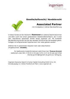 Associated Partner(m/w) - Hannover - Gesellschaftsrecht/ HAndelsrecht