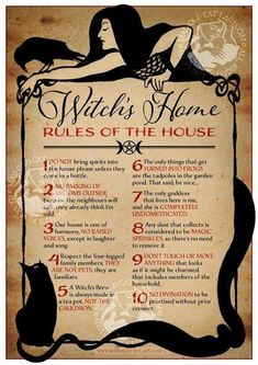 Witch's Home – Rules of The House art print Nice but beautiful poster of House Rules for a Wiccan Witch, Wicca Witchcraft, Magick, Wicca Wand, Witchcraft History, Pagan Yule, Witch History, Witches Alphabet, The Witcher