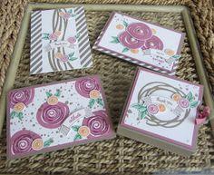 homemade card set from Stamping Moments ... Swirly Bird ... lots of Sugarplum ... Stampin' Up!