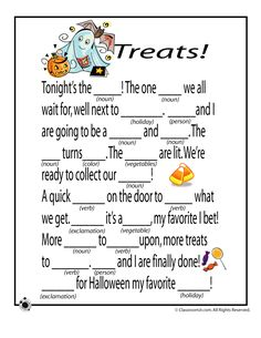 Halloween Mad Libs Halloween Mad Libs - Treats! – Classroom Jr.  Printable worksheet.  Kids grammar, writing, sentence structure and spelling practice.  Comprehension strategies for students.