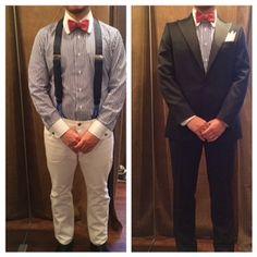 suit:ネイビータキシード shirt:ブルーストライプクレリック bowtie:リネンワッシャーピンク  #新郎#カジュアルウエディング